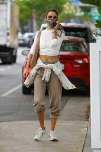 Alessandra Ambrosio in a Tan Sweatpants