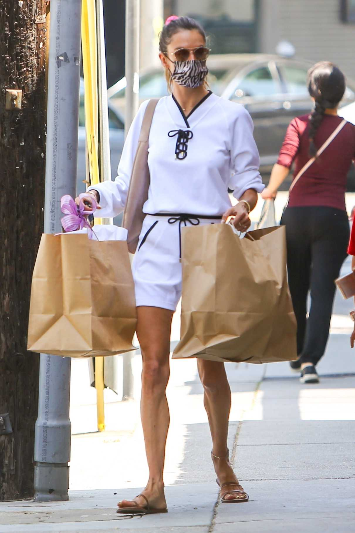 Alessandra Ambrosio in a White Outfit
