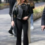 Amanda Holden in a Black Leather Jacket Arrives at the Heart Radio in London 04/30/2021