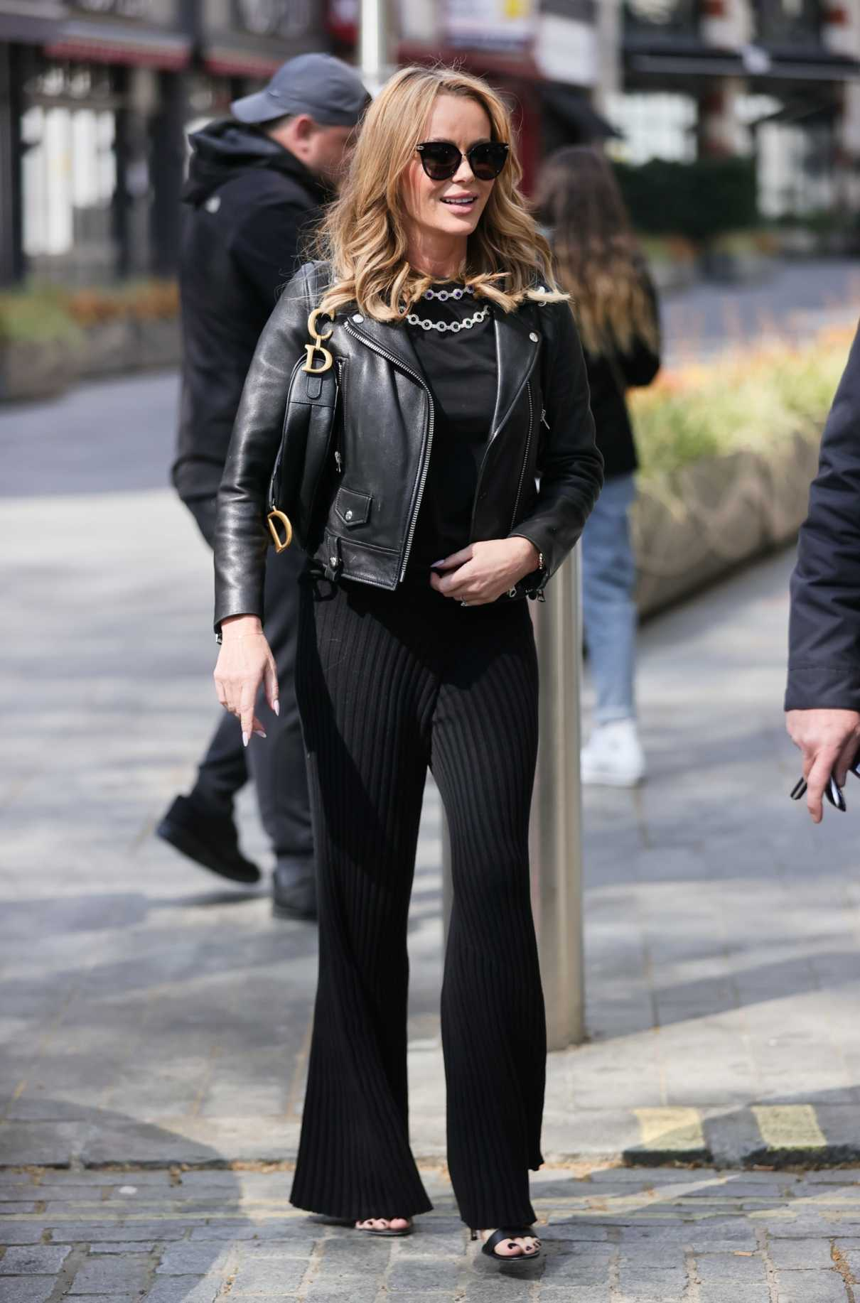 Amanda Holden in a Black Leather Jacket