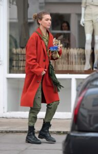 Arizona Muse in a Red Coat