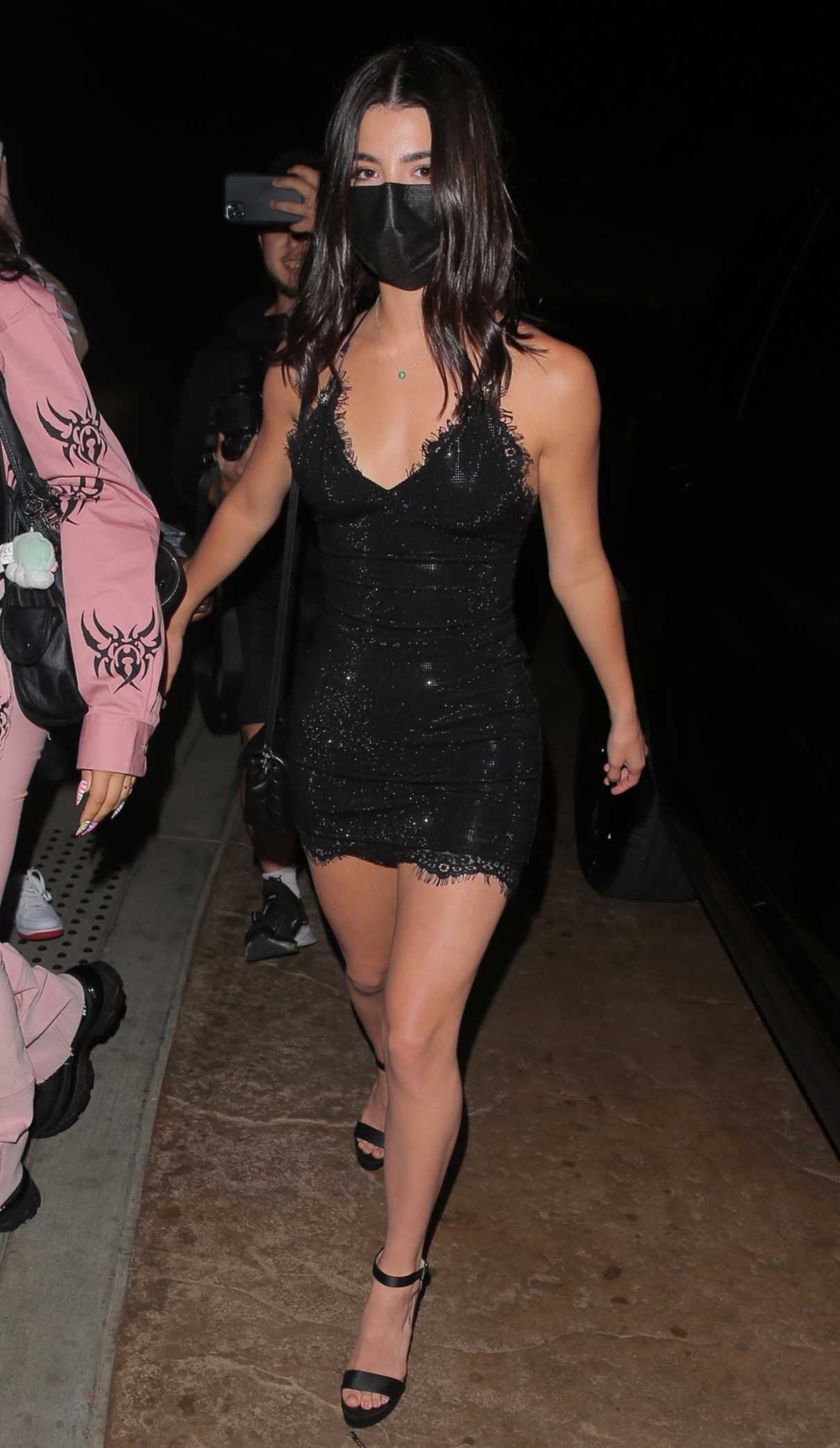 Charli D'amelio in a Black Mini Dress
