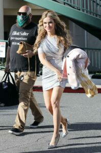 Chrishell Stause in a Silver Mini Dress