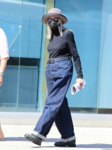 Diane Keaton in a Black Protective Mask