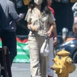 Eiza Gonzalez in a Beige Suit Was Seen Out for Lunch in Studio City 05/07/2021