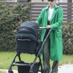 Elsa Hosk in a Green Trench Coat Was Seen Out with Her Daughter in Los Angeles 05/15/2021