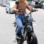 Emma Slater in a Black Cap Was Seen Riding on Electric Bike in Los Angeles 05/02/2021