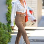 Hailey Bieber in a Beige Pants Arrives for a Business Meeting in Los Angeles 05/04/2021