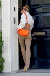 Hailey Bieber in a Beige Pants