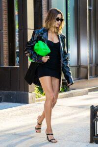 Hailey Bieber in a Black Leather Blazer