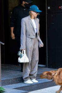 Hailey Bieber in a Blue Cap