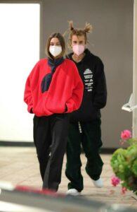 Hailey Bieber in a Red Sweatshirt