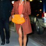 Hailey Bieber in a Tan Coat Leaves the Zero Bond Restaurant in New York City 05/16/2021