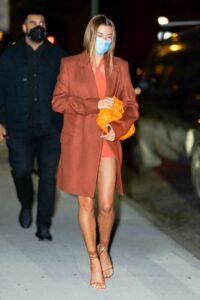 Hailey Bieber in a Tan Coat