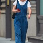 Katie Holmes in a Blue Polka Dot Jumpsuit Was Seen Out in New York 05/22/2021