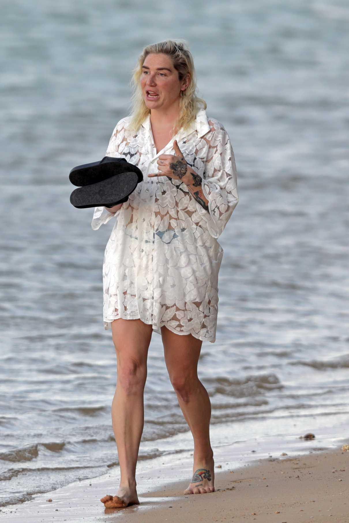 Kesha in a White Mini Dress