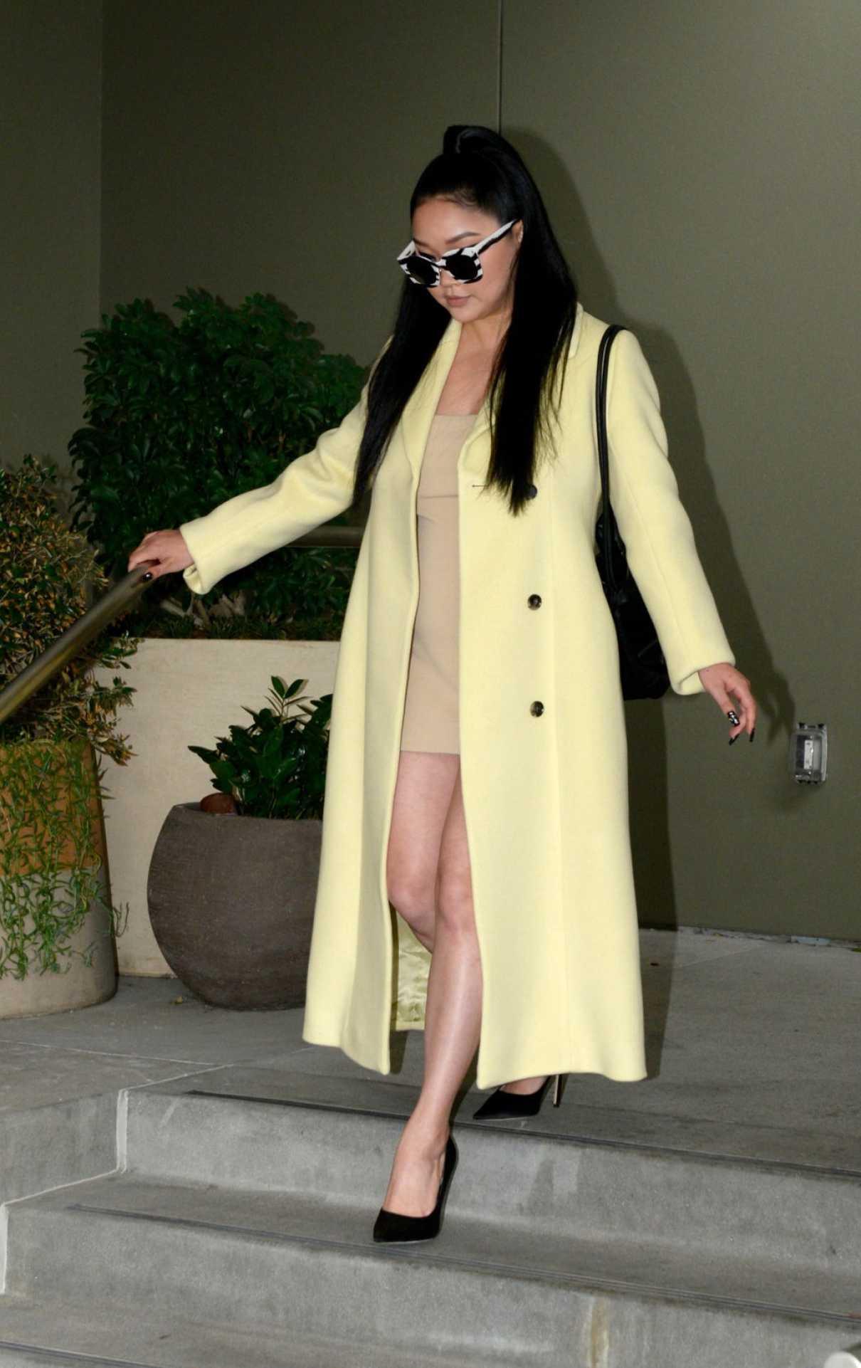 Lana Condor in a Yellow Coat