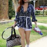 Phoebe Price in a White Spandex Shorts Was Seen at a Park in Los Angeles 05/01/2021