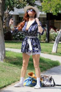 Phoebe Price in a White Spandex Shorts