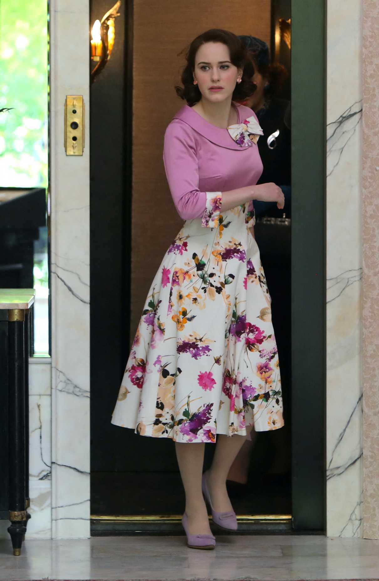 Rachel Brosnahan in a Floral Dress