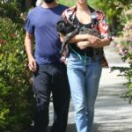 Tatiana Dieteman in a Floral Blouse Walks Her Dog Out with Tobey Maguire in Santa Monica 05/01/2021