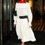 Victoria Beckham in a White Dress Exits Her Hotel in New York 05/25/2021