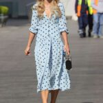 Vogue Williams in a Light Blue Polka Dot Dress Leaves the Heart Radio in London 05/02/2021
