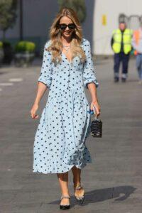 Vogue Williams in a Light Blue Polka Dot Dress