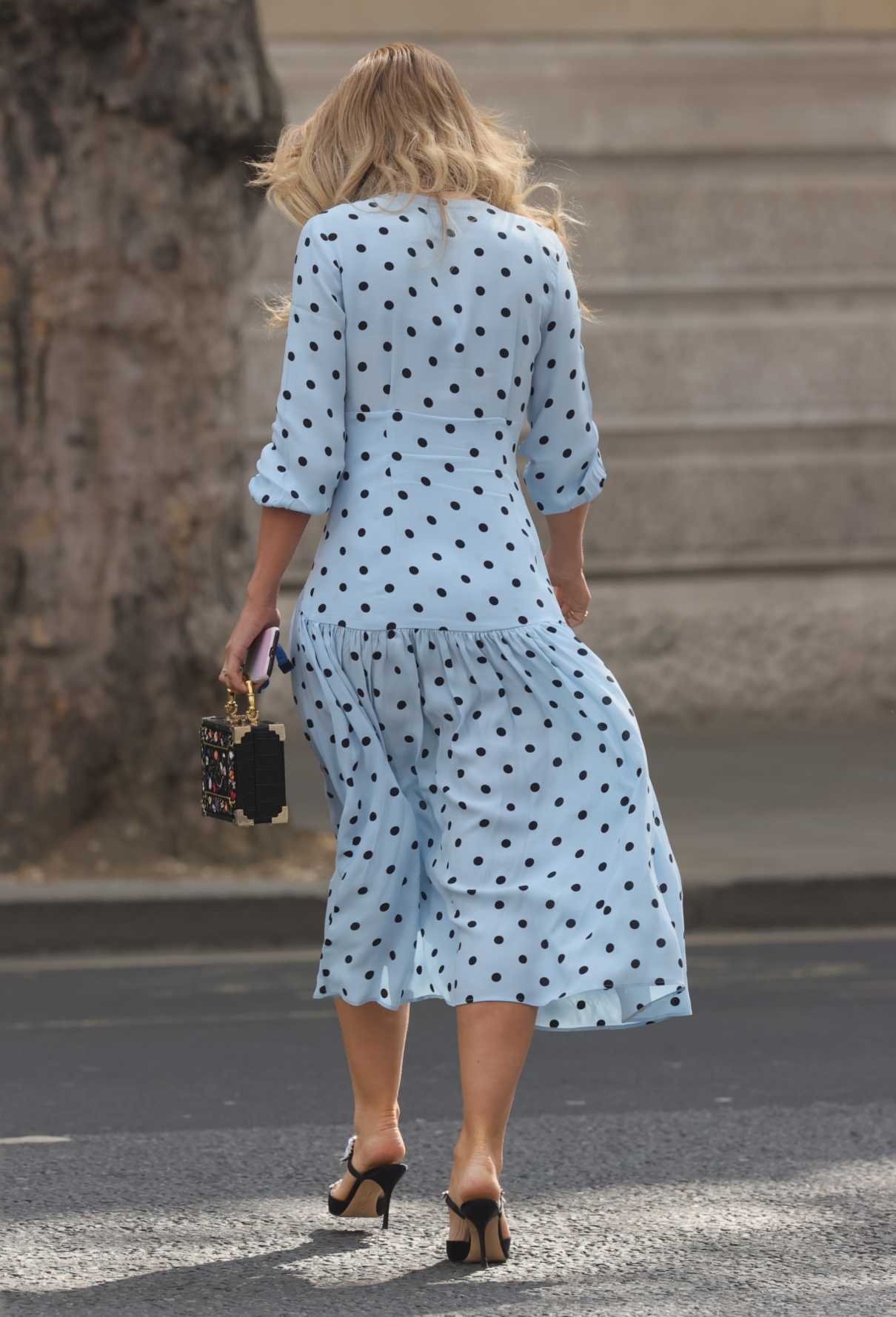 Vogue Williams in a Light Blue Polka Dot Dress