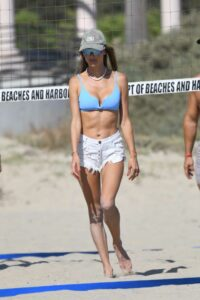 Alessandra Ambrosio in a Blue Bikini Top