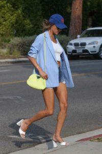 Alessandra Ambrosio in a Blue Striped Blazer