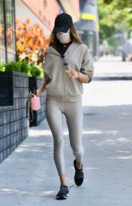Alessandra Ambrosio in a Grey Leggings