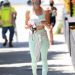 Alessandra Ambrosio in a Light Green Workout Ensemble Leaves Her Pilates Class in West Hollywood 06/14/2021