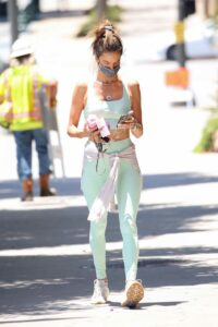 Alessandra Ambrosio in a Light Green Workout Ensemble