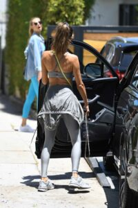 Alessandra Ambrosio in a Silver Workout Ensemble
