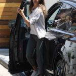 Alessandra Ambrosio in a White Long Sleeves T-Shirt Arrives at Her Pilates Class in West Hollywood 06/15/2021