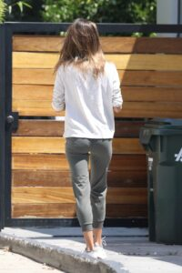 Alessandra Ambrosio in a White Long Sleeves T-Shirt
