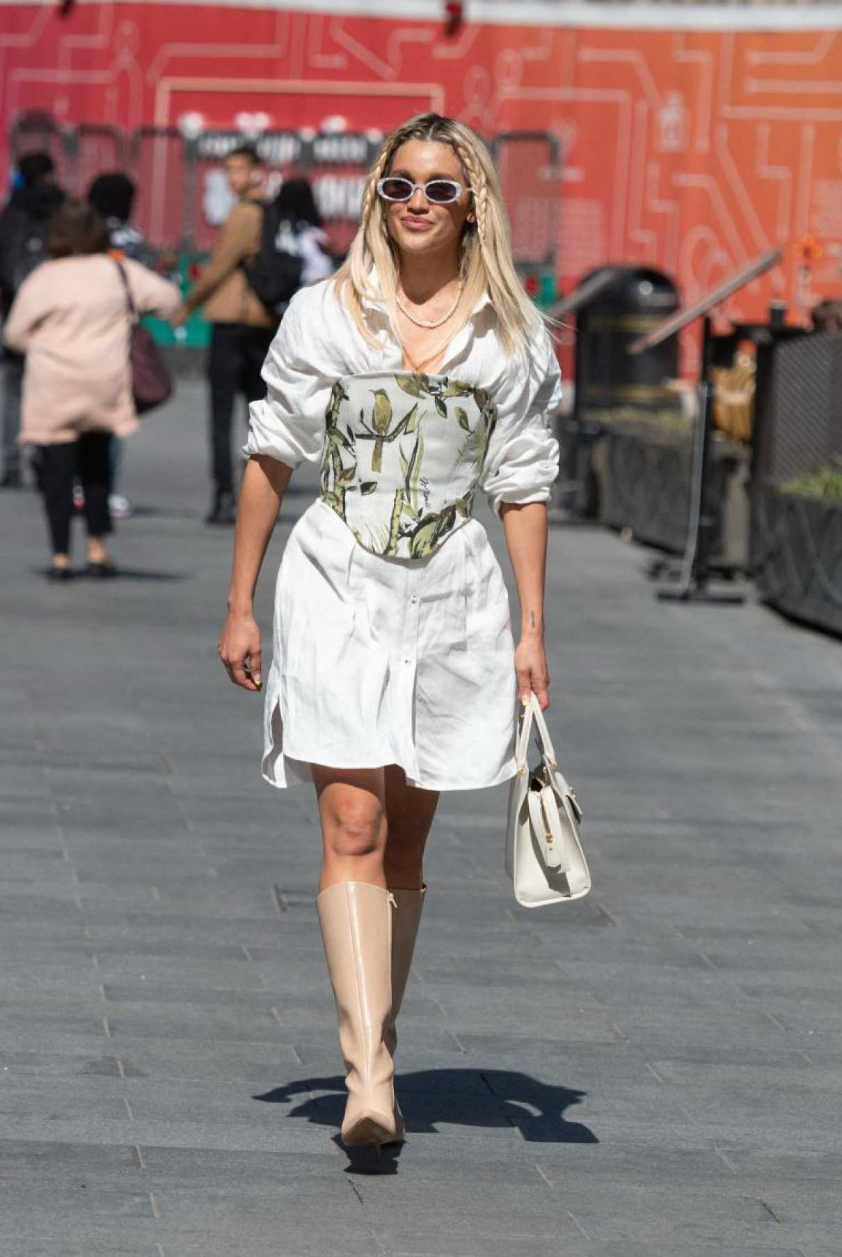 Ashley Roberts in a White Dress