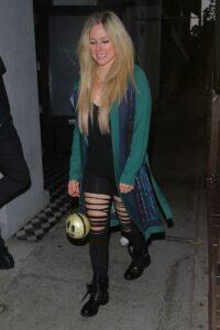 Avril Lavigne in a Green Cardigan
