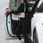Chantel Jeffries in a Black Workout Ensemble Arrives for a Training Session at DogPound Gym in West Hollywood 06/18/2021