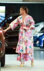 Chrissy Teigen in a Floral Cardigan
