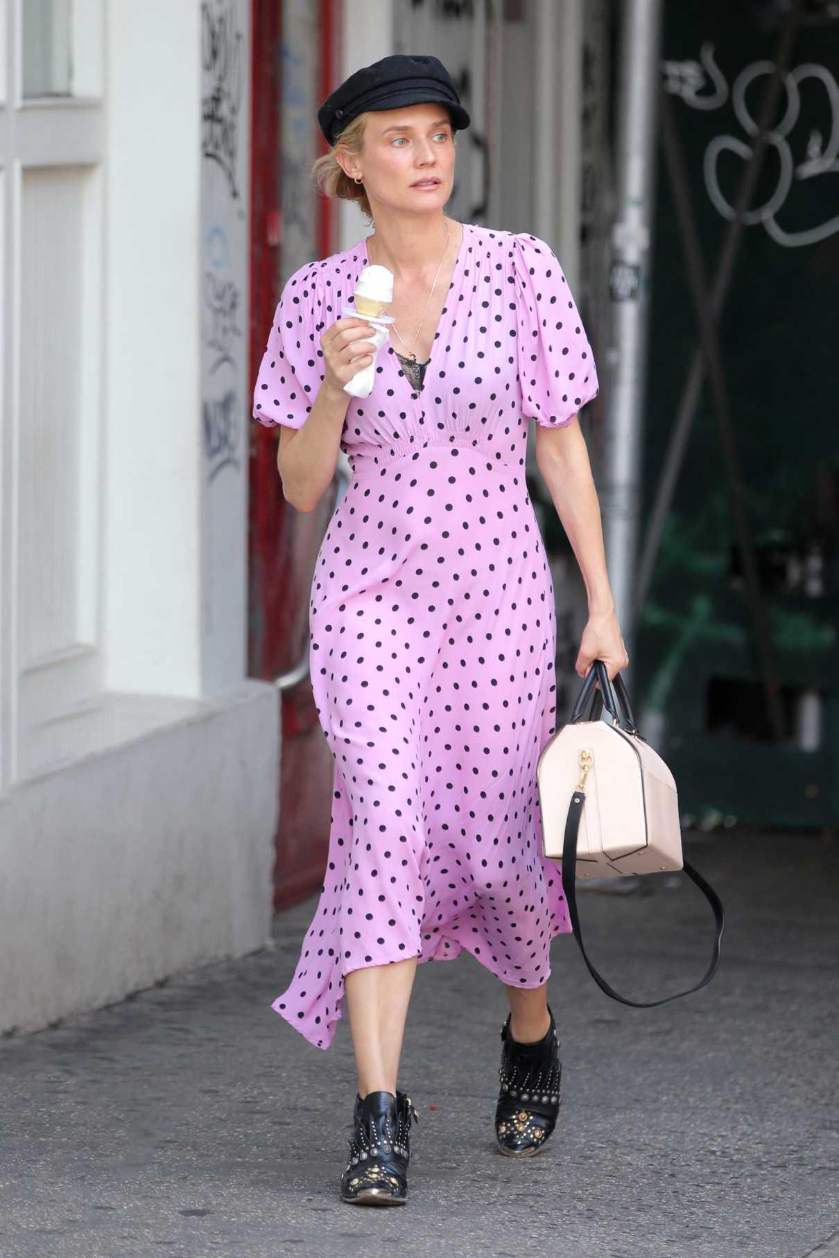 Diane Kruger in a Lilac Polka Dot Dress