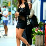 Emily Ratajkowski in a Black Mini Dress Was Seen Out in New York 06/12/2021