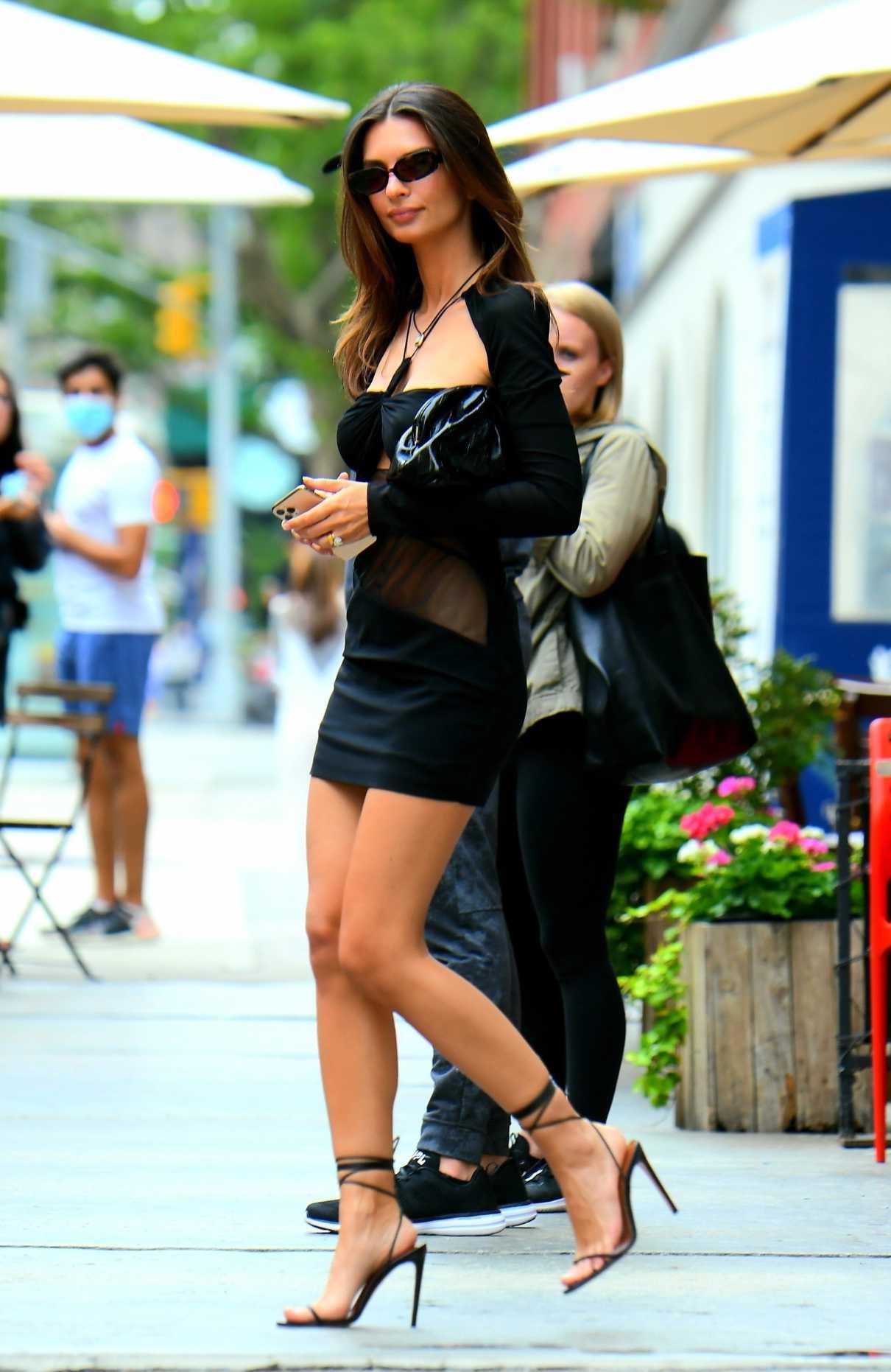 Emily Ratajkowski in a Black Mini Dress