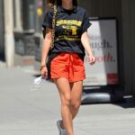 Emily Ratajkowski in a Red Shorts Was Seen Out in New York 06/24/2021