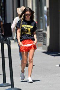 Emily Ratajkowski in a Red Shorts