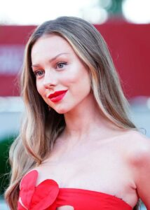 Ester Exposito in a Red Dress