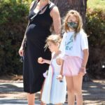 Gal Gadot in a Black Dress Walks with Her Kids Out in Studio City 06/09/2021