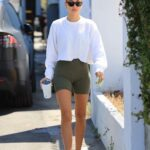 Hailey Bieber in a White Cropped Sweatshirt Leaves a Pilates Class in West Hollywood 06/10/2021