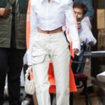 Hailey Bieber in a White Outfit Leaves the DInand Restaurant Out with Justin Bieber in Paris 06/20/2021